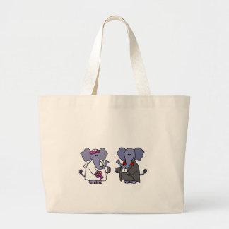 Funny Elephant Bride and Groom Wedding Design Canvas Bag