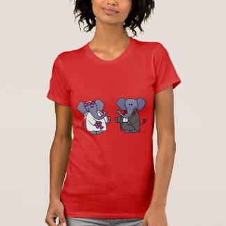 Funny Elephant Bride and Groom Wedding Design T-shirt