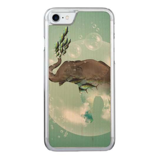 Funny elephant in a bubble with fish carved iPhone 8/7 case