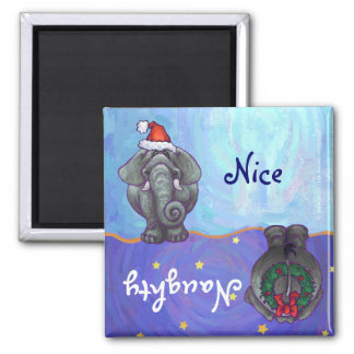 Funny Elephant Naughty Nice Holiday Magnet