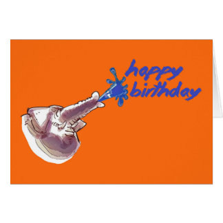 funny elephant spraying water happy birthday card