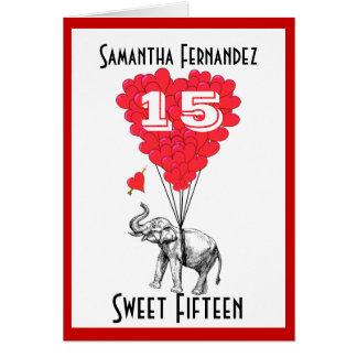 Funny elephant sweet Fifteen Card