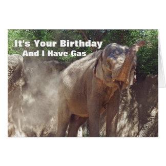 Funny Elephant With Gas Birthday Card