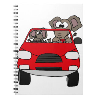 Funny Elephants in Red Car Spiral Notebook