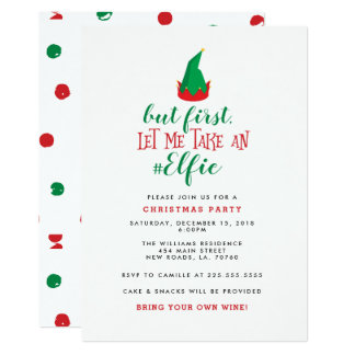 Funny Elf Christmas Party Card