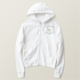Funny Embroidered Kitty Cat Embroidered Hoody