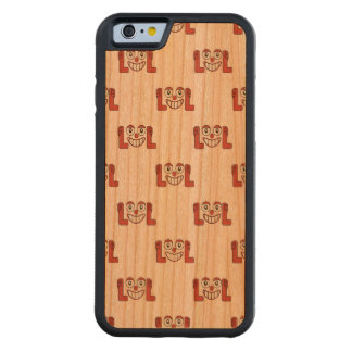Funny Emoji Laughing Out Loud Pattern Carved Cherry iPhone 6 Bumper Case