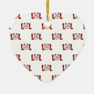 Funny Emoji Laughing Out Loud Pattern Ceramic Ornament