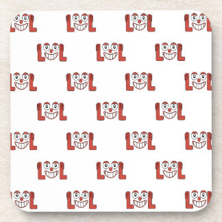 Funny Emoji Laughing Out Loud Pattern Coaster