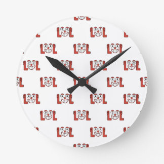 Funny Emoji Laughing Out Loud Pattern Round Clock