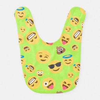 Funny Emoji Pattern (green) Bib