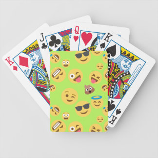 Funny Emoji Pattern (green) Bicycle Playing Cards