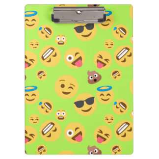 Funny Emoji Pattern (green) Clipboard