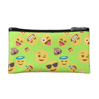 Funny Emoji Pattern (green) Cosmetics Bags