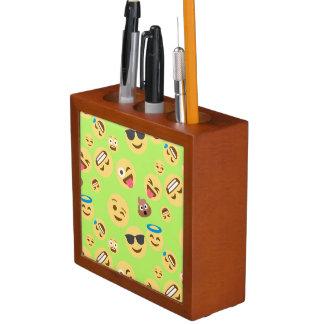 Funny Emoji Pattern (green) Desk Organizer