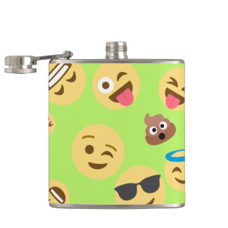 Funny Emoji Pattern (green) Hip Flask
