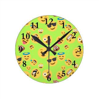 Funny Emoji Pattern (green) Round Clock