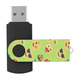 Funny Emoji Pattern (green) USB Flash Drive