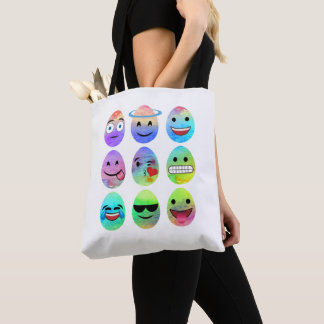 Funny Emojis, Easter Emoji Eggs, Emoticon Egg Tote Bag