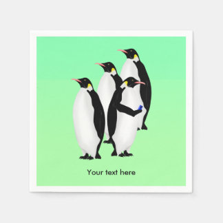 Funny Emperor Penguin On A Mobile Phone Disposable Napkins