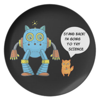 Funny Engineering Science Robotics And Angry Cat Plate