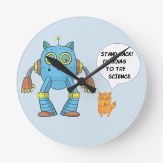 Funny Engineering Science Robotics And Angry Cat Round Clock