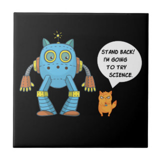Funny Engineering Science Robotics And Angry Cat Tile
