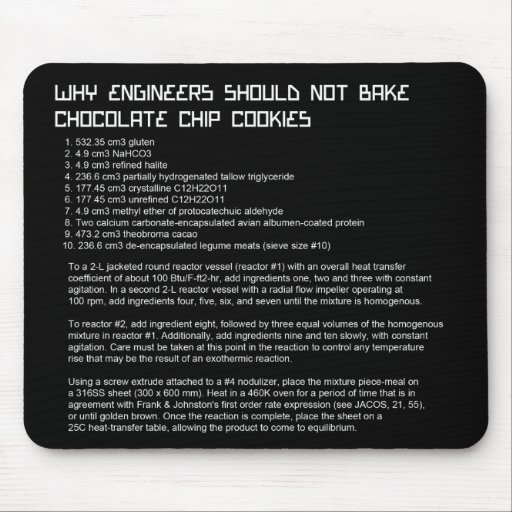 Funny Engineer's Recipe Mousepad