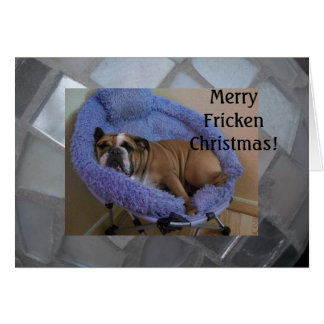 Funny English Bulldog Christmas Cards! Card