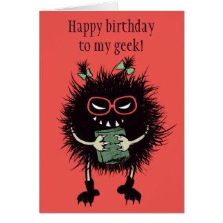 Funny Evil Bug Student Loves Reading Geek Birthday Card