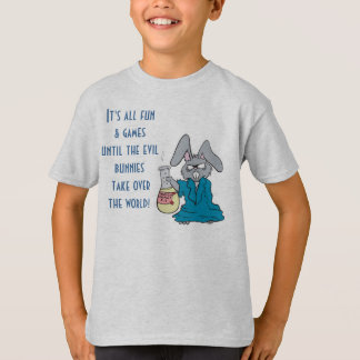 funny evil mad scientist bunny take over world T-Shirt