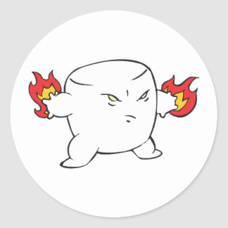 funny evil roasted marshmallow classic round sticker