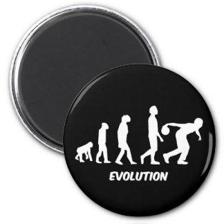 funny evolution bowling magnet