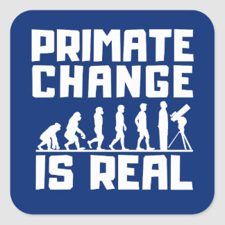 Funny Evolution Primate Climate Change Is Real Square Sticker