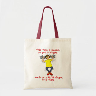 Funny Exercise New Years Resolution Cartoon Tote
