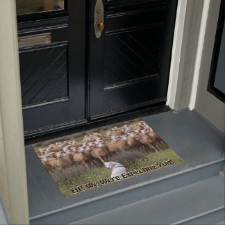 Funny Expecting You Sheep Flock CHANGE TEXT Doormat