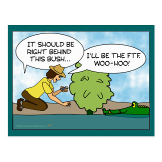 Funny Extreme Cache Geocaching Cartoon Custom Postcard