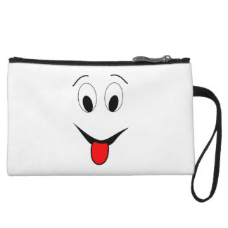 Funny face - black and red. wristlet