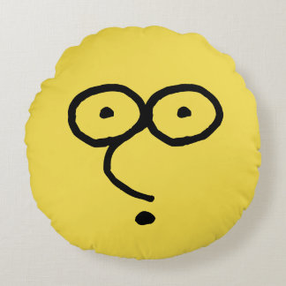 Funny Face Drawing Round Pillow