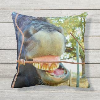 Funny face miniature horse outdoor pillow