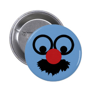 Funny Face Mustache Clown Man With Glasses 2 Inch Round Button