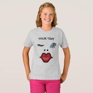 funny face of woman sending a kiss T-Shirt