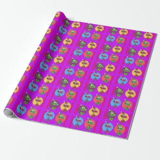 funny face out of the surprise gift box cartoon wrapping paper