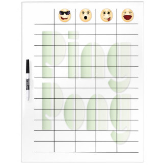 Funny Face Ping Pong Scoreboard & Paddles Set Dry Erase Board