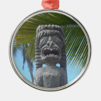 Funny face tiki man statue ornament