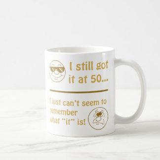 Funny Faces 50th Birthday Gag Gifts Basic White Mug