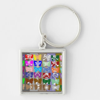 Funny Faces,  Chinese Characters and Sparkles Key Chain