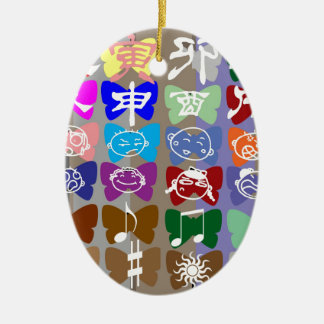 Funny Faces,  Chinese Characters and Sparkles Double-Sided Oval Ceramic Christmas Ornament