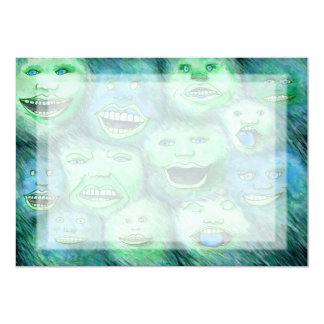 "Funny Faces. Fun Cartoon Monsters. Green. 5"" X 7"" Invitation Card"
