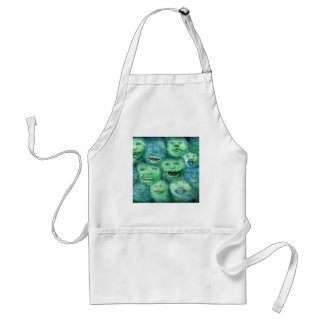 Funny Faces Fun Cartoon Monsters Green Aprons